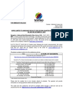 Wipro Limited To Announce Results For Second Quarter Ended September 30, 2015 On October 21, 2015 [Company Update]