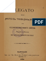 Alegato Hecho Ante El Tribunal Militar Por Alejandro Bustamante Cárpena, Sargento Mayor Del Antiguo Ejército de Chile. (1892)