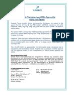 Aurobindo Pharma receives USFDA Approval for Aripiprazole Tablets [Company Update]