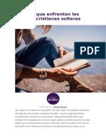 Peligros Que Enfrentan Las Mujeres Cristianas Solteras