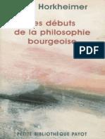 Horkheimer, Max-Les Debuts de La Philosophie Bourgeoise