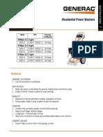 Generac Power Washer 3100PSI - Spec Sheet