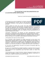 Vœu pour la mise en œuvre d'une réglementation sur la location entre particuliers