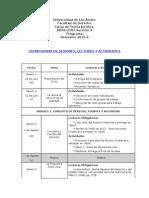 Cronograma y Lecturas Uniandes