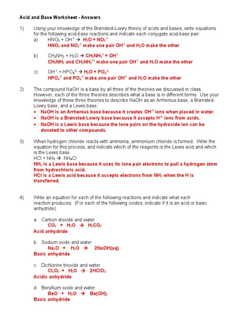 Acid and Base Worksheet 10708 Ans Key 1 Acid – Acid and Base Worksheet Answers