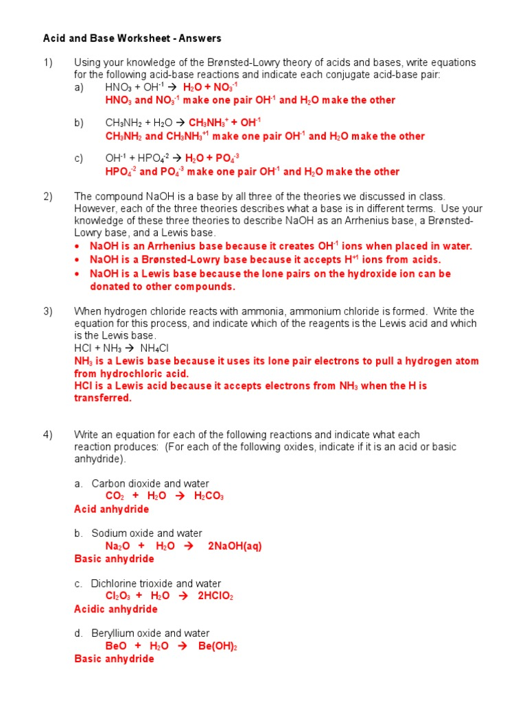 worksheet Naming Acids Worksheet Answers acid and base worksheet 1 07 08 ans key ph