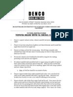 Toyota 5l Engine-turbo Kit Fitting Instructions