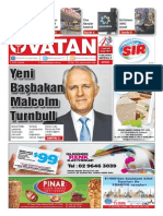 Yeni Vatan Weekly Turkish Newspaper September 2015 Issue 1817