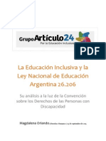 La Educación InLa educación inclusiva y la ley nacional de educación 26.206clusiva y La Ley Nacional de Educación 26.206 - Su Análisis a La Luz de La CDPD