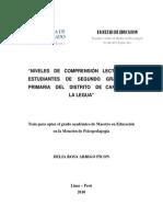 Niveles de Comprensión Lectora en Estudiantes de Segundo Grado de Primaria Del Distrito de Carmen de La Legua