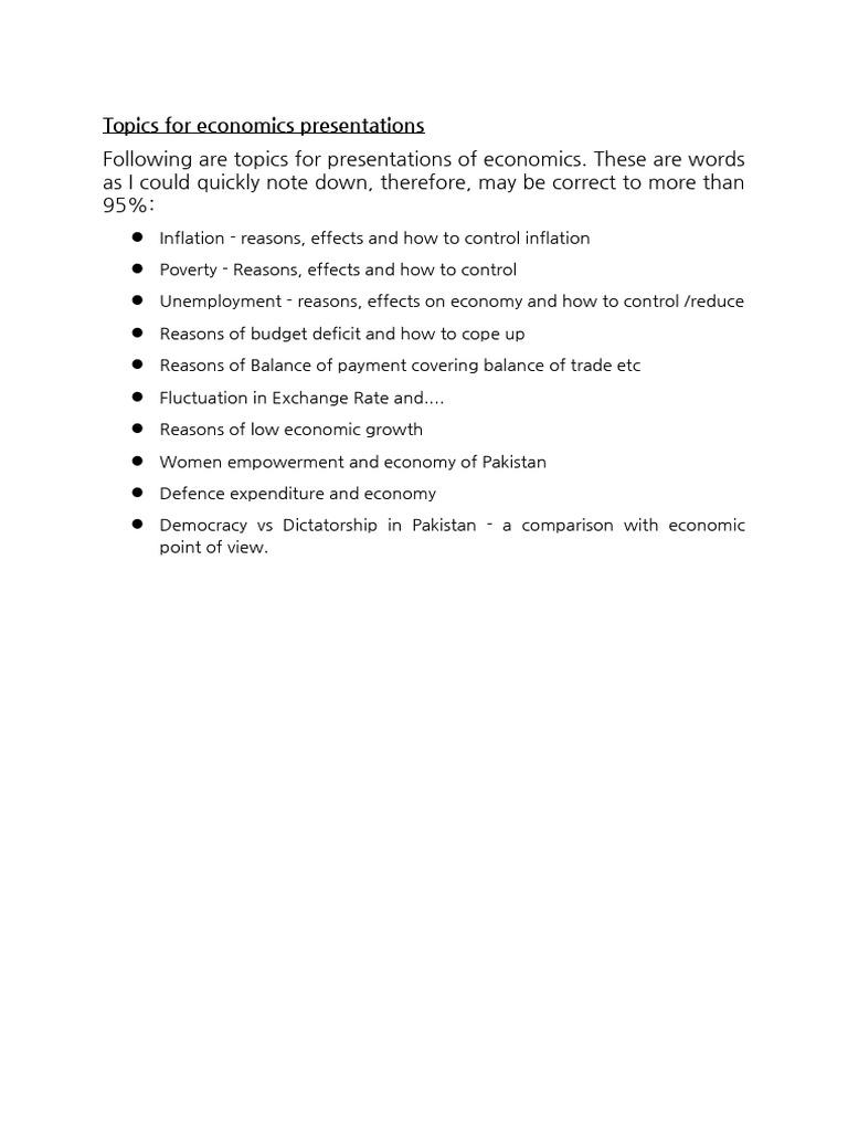 economics presentations topics