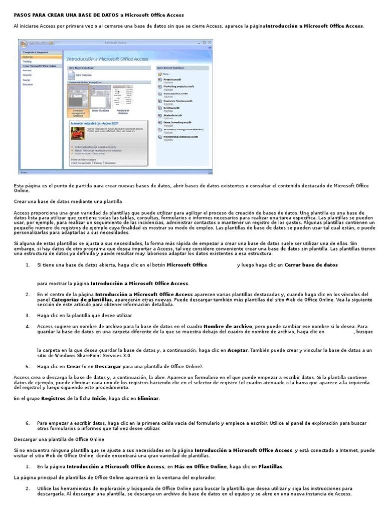 Pasos Para Crear Una Base de Datos a Microsoft Office Access