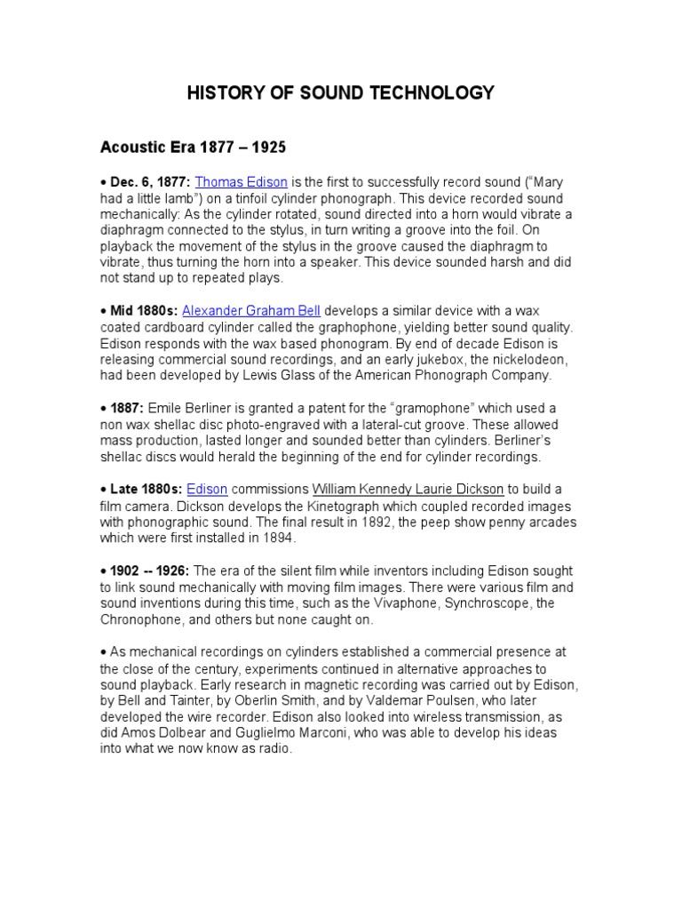 history of sound technology