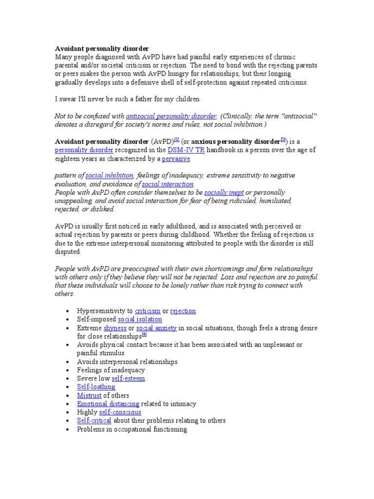 Intimacy avoidance disorder
