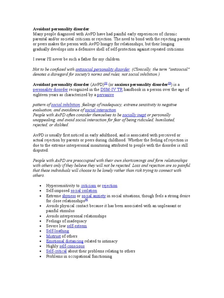 apd avoidant personality disorder