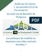 L'Analyse Des Politiques de Mobilté Durable Des Collectivités Locales d'Aquitaine