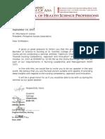 Letter to the Speaker