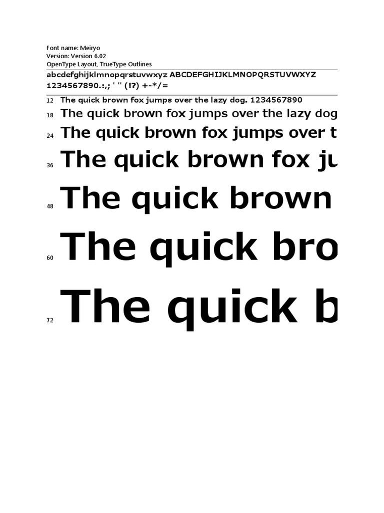 meiryo bold font