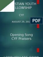 August 29 Cyf