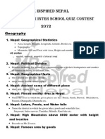 Syllabus From Be Inspired Nepal for quiz competition 2072