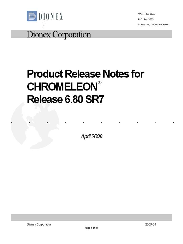 Chromeleon 6 80 SR7 - Release Notes | Windows Xp | Microsoft