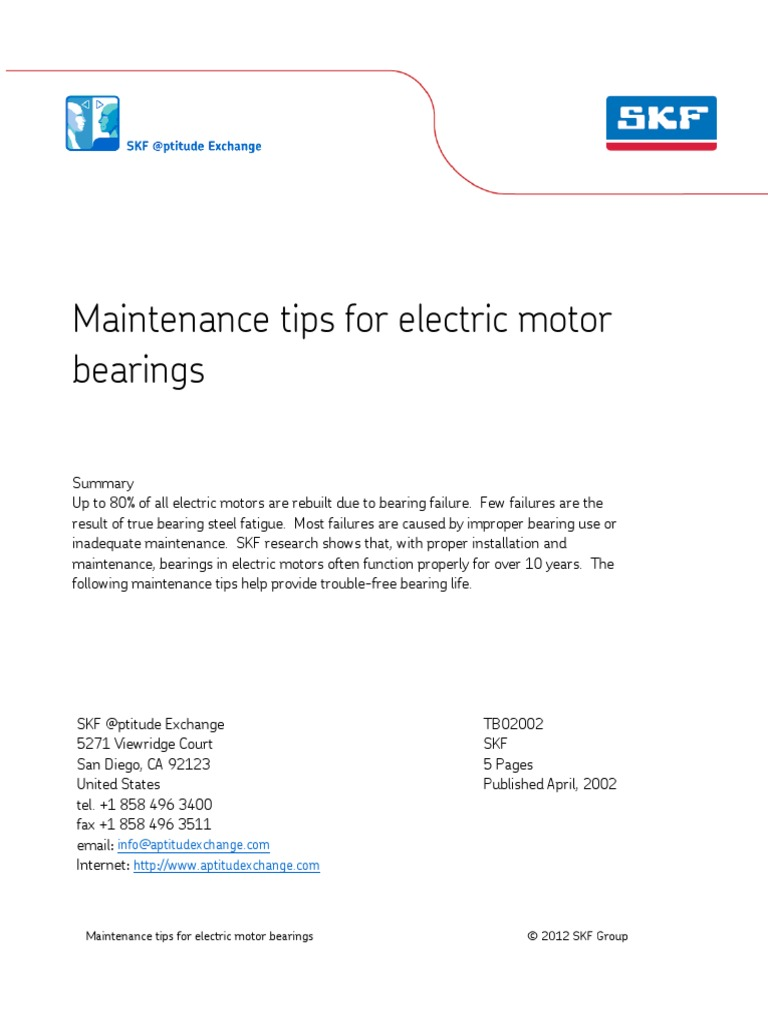 Tips skf mantenimiento motores electricos bearing for Electric motor bearing lubrication