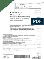 Edexcel GCE January 2010 Mechanics 3 M3 Question Paper
