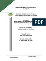 Mantenimiento de Los Equipos de Cómputo Del Ayuntamiento Del Municipio de Tapachula