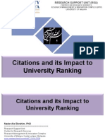 Citations and its Impact to University Ranking