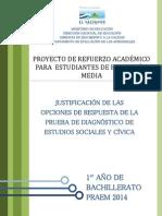 Justificacin de Las Opciones de Respuesta de La Prueba de Diagnstico de Estudios Sociales - Primer Ao de Bachillerato Praem 2014