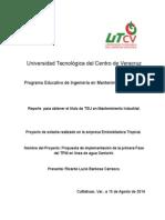TPM tesina, reporte de estadía