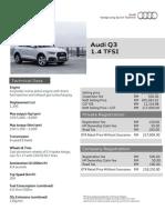 Audi Q3 Facelift - 1.4 TFSI Price & Specs