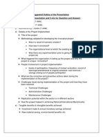 Suggested Outline of the Presentation