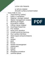 List of Construction Site Hazards