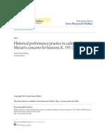 Historical Performance Practice in Cadenzas for Mozarts Concerto