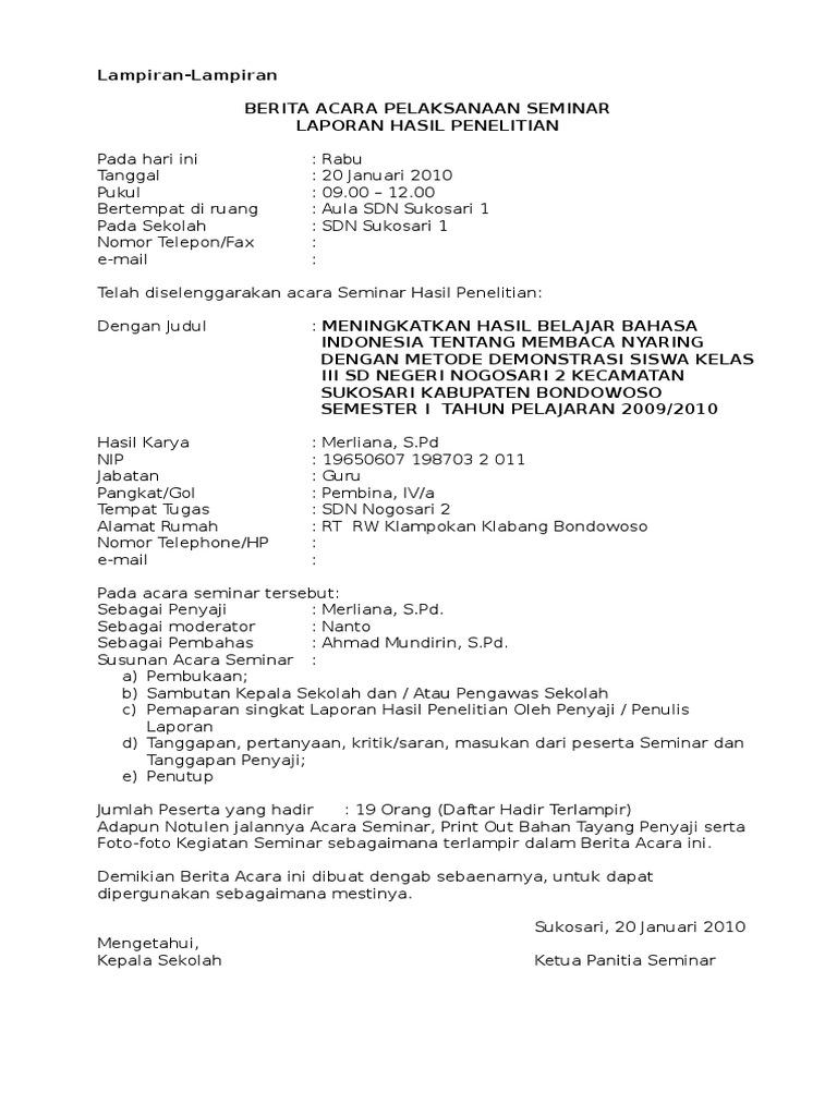 Doc Notulen Jalannya Acara Seminar Laporan Hasil Unik Tangguh P Academia Edu