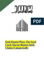 Zaid Hamid Plays the Syed Card