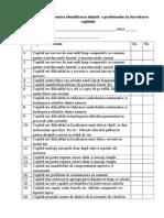 lista de control pentru identificarea problemelor copilului