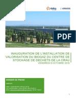 Dossier de presse de l'inauguration du Biogaz installé dans la plaine de La Crau