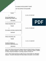 Parus Holdings, Inc. v. Sallie Mae Bank, et al., C.A. No. 14-1427-SLR (D. Del. Oct. 8, 2015).
