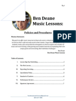 ben deane music lessons policies and procedures