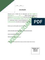 Declaração de Comprovação - Medição e Espessura
