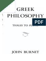 Greek Philosophy, Tales to Plato - John Burnet 1964