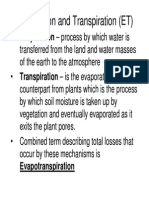 Lecture 6- Evaporation and Transpiration
