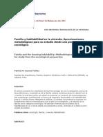 Familia y Habitabilidad en La Vivienda, Aproximaciones Metodológicas Para Su Estudio Desde Una Perspectiva Sociológica