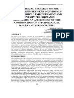 095 an Empirical Research on the Relationship Between Individuals Psychological Empowerment and Voluntary Performance Behaviors an Assessment of the Combination of Pyschological Power and Intimate Will