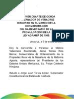 06 01 2011 Conmemoración 96 aniversario de la promulgación Ley Agraria de 1915