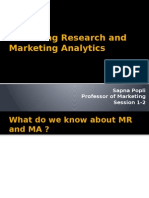 Marketing Research and Marketing Analytics Session 1-2 28th Sept