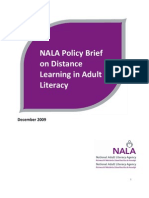 Distance Learning in Adult Literacy Policy Brief 2009