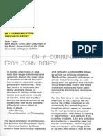 YATES, Peter. on a Communication From John Dewey
